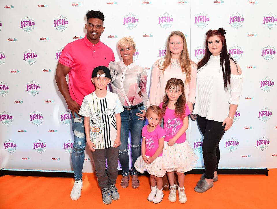 LONDON, ENGLAND - MAY 14:  George Kay, Maxwell Mark Croft, Kerry Katona, Lilly-Sue McFadden, Molly McFadden and Heidi Croft attend the UK premiere for the brand new Nick Jr. show 'Nella the Princess Knight' at 11 Cavendish Square on May 14, 2017 in London, England. The premiere airs on Nick Jr. at 5:30pm on Monday 15th May.  (Photo by Eamonn M. McCormack/Getty Images for Nickelodeon)