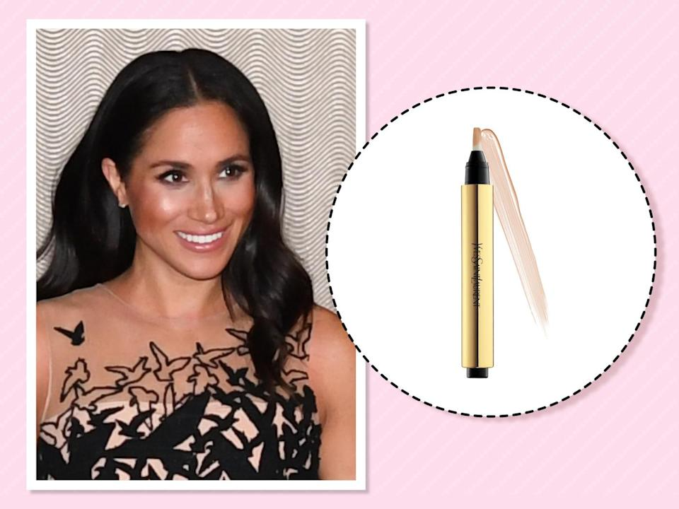 "<p>Speaking of looking awake, another trick the duchess has in her bag of beauty is this makeup favorite. ""It blends, it's compact, and if you've worked a 17-hour day and have nothing else on, you will still look relatively alive,"" <a href=""https://beautybanter.com/banter-babe-meghan-markle"" rel=""nofollow noopener"" target=""_blank"" data-ylk=""slk:she told Beauty Banter"" class=""link rapid-noclick-resp"">she told Beauty Banter </a>of her all-time favorite product. (Photo: Getty Images)<br><strong><a href=""https://fave.co/2PROFUK"" rel=""nofollow noopener"" target=""_blank"" data-ylk=""slk:Shop it"" class=""link rapid-noclick-resp"">Shop it</a>:</strong> $38, <a href=""https://fave.co/2PROFUK"" rel=""nofollow noopener"" target=""_blank"" data-ylk=""slk:macys.com"" class=""link rapid-noclick-resp"">macys.com</a> </p>"
