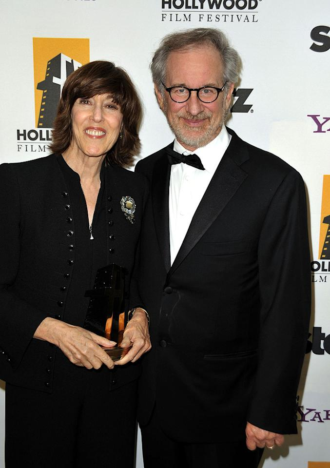 """<a href=""""http://movies.yahoo.com/movie/contributor/1800022174"""">Nora Ephron</a> and <a href=""""http://movies.yahoo.com/movie/contributor/1800010823"""">Steven Spielberg</a> at the 13th Annual Hollywood Awards Gala held at the Beverly Hilton Hotel - 10/26/2009"""