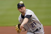 Colorado Rockies starting pitcher Kyle Freeland delivers during the second inning of a baseball game against the Pittsburgh Pirates in Pittsburgh, Sunday, May 30, 2021. (AP Photo/Gene J. Puskar)
