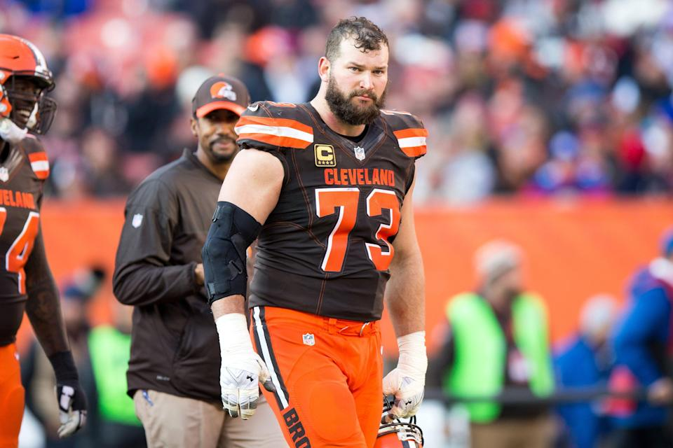 CLEVELAND, OH - NOVEMBER 27: Cleveland Browns Offensive Tackle Joe Thomas (73) on the field during the third quarter of the National Football League game between the New York Giants and Cleveland Browns on November 27, 2016, at FirstEnergy Stadium in Cleveland, OH. New York defeated Cleveland 27-13. (Photo by Frank Jansky/Icon Sportswire via Getty Images)
