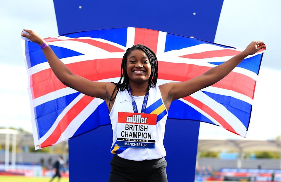 MANCHESTER, ENGLAND - SEPTEMBER 05: In this handout image provided by British Athletics, Gold Medalist, Naomi Ogbeta of Great Britain poses during the medal ceremony for the Women's Triple Jump event during Day Two of the Muller British Athletics Championships at Manchester Regional Arena on September 05, 2020 in Manchester, England. (Photo by British Athletics - Handout/British Athletics via Getty Images)