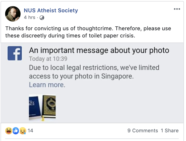 (SCREENCAP: NUS Atheist Society/Facebook)