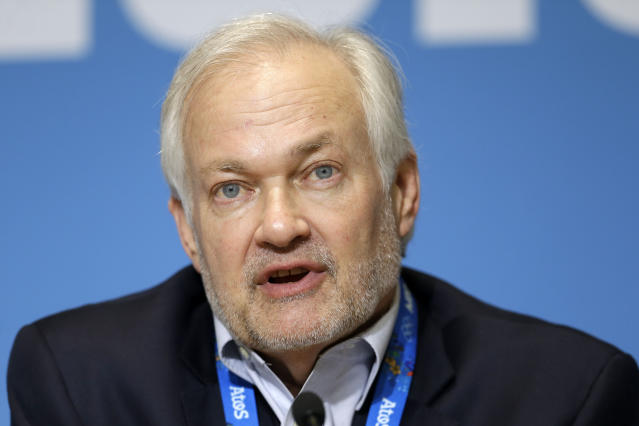 FILE - In this Feb. 18, 2014, file photo, NHL Players' Association Executive Director Don Fehr answers a question during a news conference in Sochi, Russia.Under the terms of the collective bargaining agreement, NHL owners and players divide hockey-related revenue 50/50, and if player salaries exceed that split a certain percentage is withheld in escrow to make it even. Under the terms of the collective bargaining agreement, NHL owners and players divide hockey-related revenue 50/50, and if player salaries exceed that split a certain percentage is withheld in escrow to make it even. The Chicago Blackhawks captain Jonathan Toews and fellow players have lost upwards of 10% of their pay to escrow over the past seven seasons, which is why 25 of 31 NHL Players Association representatives surveyed by The Associated Press and Canadian Press named escrow as the biggest bargaining issue with September deadlines looming to terminate the current CBA effective the fall of 2020. (AP Photo/Mark Hump