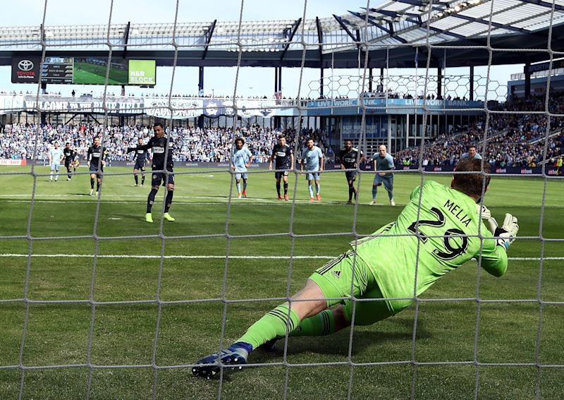 KANSAS CITY, KANSAS - MARCH 10: Goalkeeper Tim Melia #29 of Sporting Kansas City makes a save on a penalty kick by Marco Fabian #10 of Philadelphia Union during the game at Children's Mercy Park on March 10, 2019 in Kansas City, Kansas. (Photo by Jamie Squire/Getty Images)