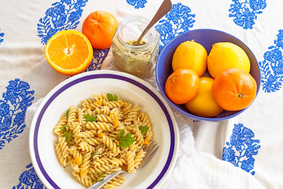 Nut and orange pesto pasta (Flic Everett)