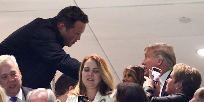 Actor Vince Vaughn greets First Lady Melania Trump and President Donald J. Trump in the College Football Playoff national championship game between the Clemson Tigers and the LSU Tigers at Mercedes Benz Superdome. .JPG