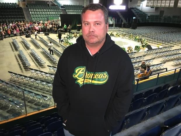 Scott Thomas at the Elgar Petersen Arena before a memorial service on the first anniversary of the Humboldt Broncos bus crash. (Bonnie Allen/CBC - image credit)