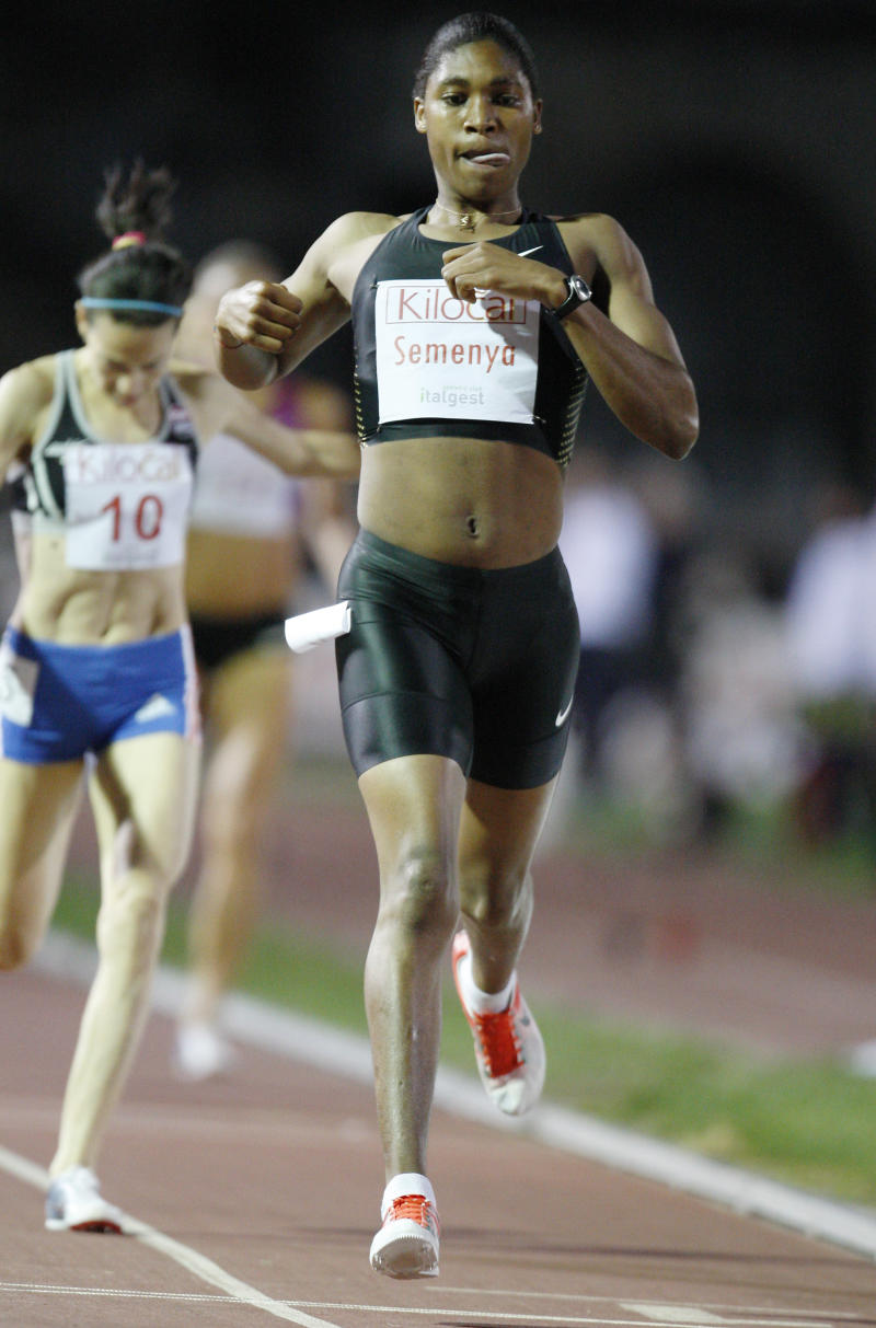 File - South Africa's Caster Semenya crosses the finish line to win the women's 800m during the Notturna di Milano International Athletics meeting in Milan, Italy, in this Thursday, Sept 9, 2010 file photo.   International sports officials are close to finalizing guidelines on how to deal with cases of athletes with ambiguous sexual characteristics. Arne Ljungqvist, chairman of the IOC's medical commission, said the group has drawn up proposals for handling an issue that gained global attention with the gender-verification dispute involving South African runner Caster Semenya. (AP Photo/Antonio Calanni)