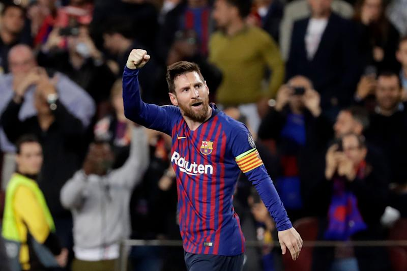 b1d7788b4 Barcelona s Lionel Messi celebrates after scoring his side s second goal  during the Champions League semifinal