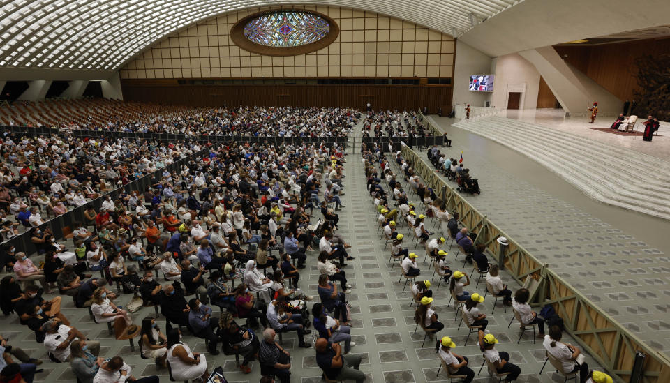 A general view of the Paul VI hall during the weekly general audience held by Pope Francis at the Vatican, Wednesday, Aug. 4, 2021. It was Francis' first general audience since undergoing planned surgery to remove half his colon for a severe narrowing of his large intestine on July 4, his first major surgery since he became pope in 2013. (AP Photo/Riccardo De Luca)