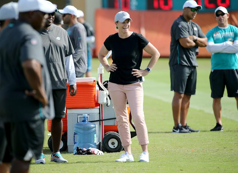 Jill Ellis had plenty of advice to give the Miami Dolphins on Tuesday afternoon, and is very excited to cheer them on this fall.