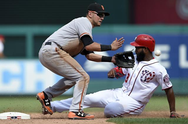 <p>Washington Nationals' Brian Goodwin, right, steals second against San Francisco Giants second baseman Joe Panik, left, during the eighth inning of the first baseball game of a split doubleheader, Sunday, Aug. 13, 2017, in Washington. (AP Photo/Nick Wass) </p>