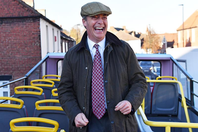 Brexit Party leader Nigel Farage on the party's campaign bus whilst on the General Election campaign trail in Worksop, Nottinghamshire.