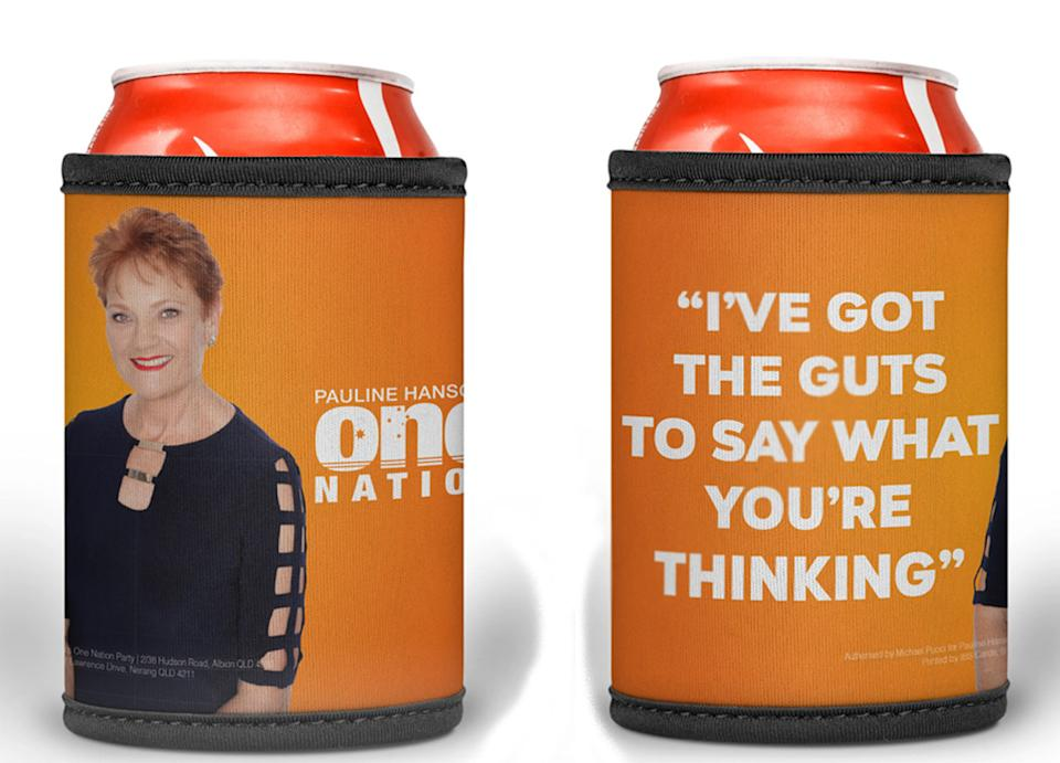The Pauline  Hanson stubby holders, pictured, are for sale for $7 online. Source: One Nation