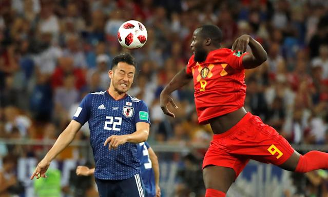 <p>Romelu Lukaku (9) of Belgium in action against Maya Yoshida (22) of Japan the 2018 FIFA World Cup Russia Round of 16 match between Belgium and Japan at the Rostov Arena Stadium in Rostov On Don, Russia on July 02, 2018. (Photo by Sebnem Coskun/Anadolu Agency/Getty Images) </p>