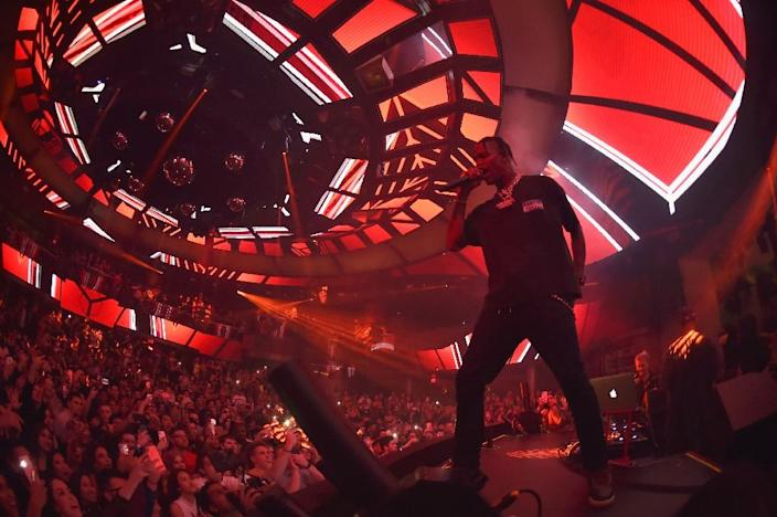 Rapper Travis Scott launching his concert residency at the Palms Casino nightclub Kaos in Las Vegas, where a number of young artists are setting up shop (AFP Photo/David Becker)