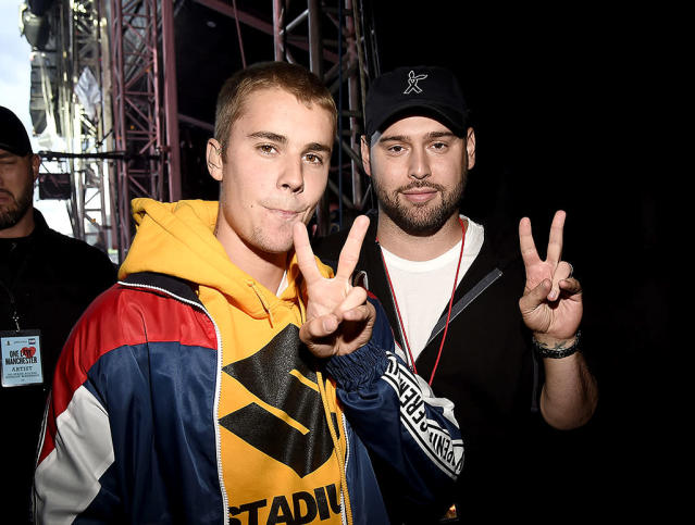 "<p>The singer was in a peaceful state of mind hanging out with manager Scooter Braun at Sunday's One Love Manchester concert. Onstage, the Biebs was clearly more emotional, and he <a href=""https://www.yahoo.com/celebrity/justin-bieber-cries-during-one-214400466.html"" data-ylk=""slk:fought back tears;outcm:mb_qualified_link;_E:mb_qualified_link"" class=""link rapid-noclick-resp newsroom-embed-article"">fought back tears</a> during his performance. (Photo: Kevin Mazur/One Love Manchester/Getty Images for One Love Manchester) </p>"