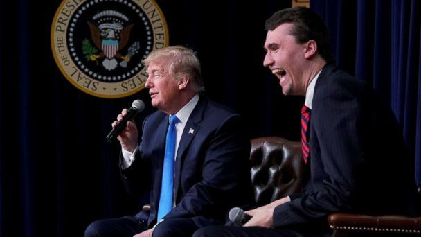 PHOTO: Charlie Kirk, founder of Turning Point USA, laughs after President Donald Trump said that if he could go back in time and give himself advice at age 25 it would be to not run for president, during a youth forum at the White House, March 22, 2018. (Jonathan Ernst/Reuters)