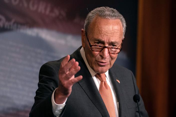 """""""They can barely cobble together a partisan bill in their own conference,"""" Senate Minority Leader Chuck Schumer (D-N.Y.) said of Republicans on Wednesday. (Photo: ASSOCIATED PRESS)"""