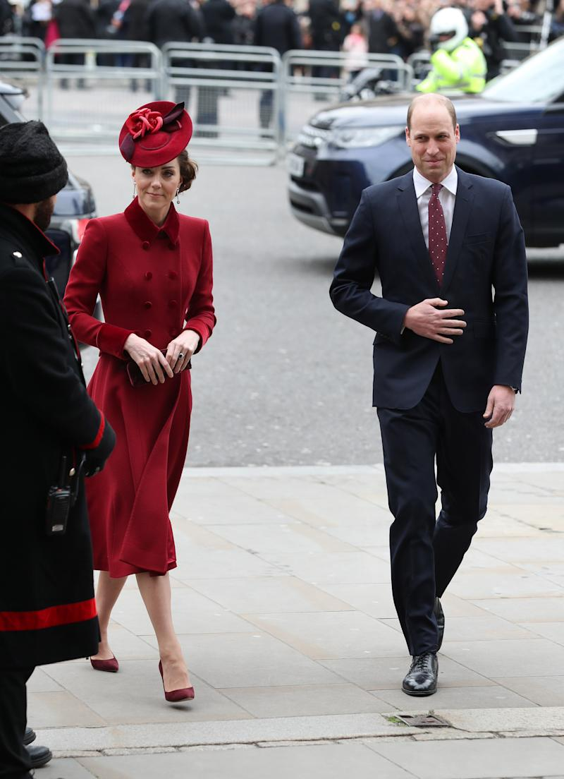 The Duke and Duchess of Cambridge arrive at the Commonwealth Service at Westminster Abbey, London on Commonwealth Day. The service is the Duke and Duchess of Sussex's final official engagement before they quit royal life. (Photo by Yui Mok/PA Images via Getty Images)
