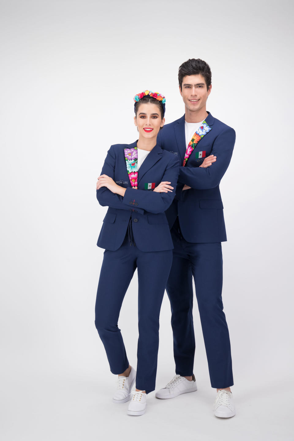 This image provided by High Life Mexico shows the opening ceremony outfits for team Mexico. The Mexico Olympic Committee held a national online competition to choose the looks from three designs done by High Life. The winning design honors Oaxaca in a single, brightly colored lapel. (High Life Mexico via AP)