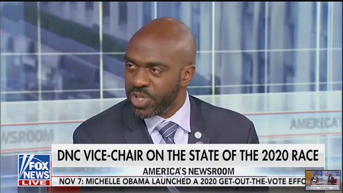 """Democratic National Committee Vice Chair Michael Blake repeatedly asked why conservative Fox News host Tucker Carlson remains employed by the network after calling white supremacy a """"hoax."""" (Photo: Fox News)"""