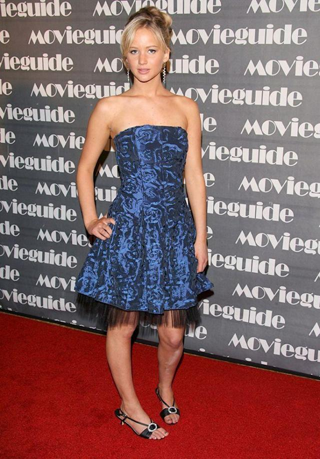 """<p><a href=""""https://www.yahoo.com/entertainment/tagged/jennifer-lawrence"""" data-ylk=""""slk:Jennifer Lawrence"""" class=""""link rapid-noclick-resp"""">Jennifer Lawrence</a> hits her first red carpet at age 16 on Feb. 20, 2007, after having booked only a few small TV roles. (Photo: Getty Images) </p>"""