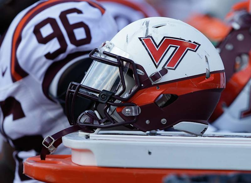 A Virginia Tech helmet is seen during the second half of an NCAA college football game against Purdue, Saturday, Sept. 19, 2015 in West Lafayette, Ind. Virginia Tech won the game 51-24. (AP Photo/Darron Cummings)