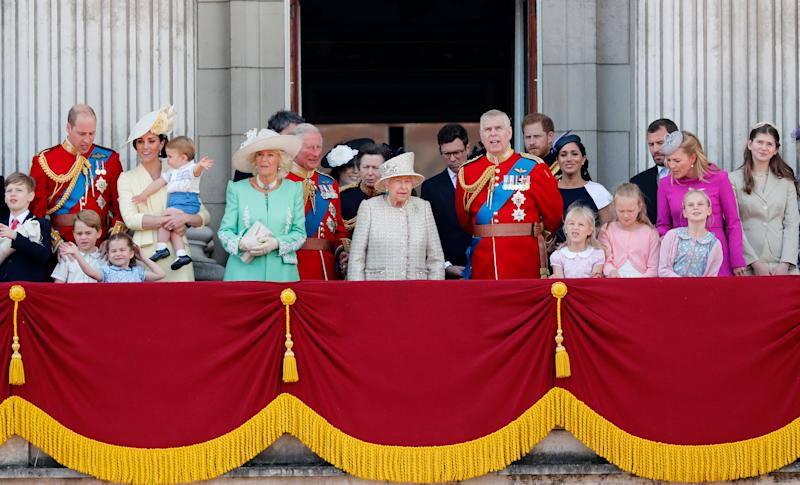 Royal family gathers on Buckingham Palace balcony for the annual Trooping the Colour parade on June 8, 2019.