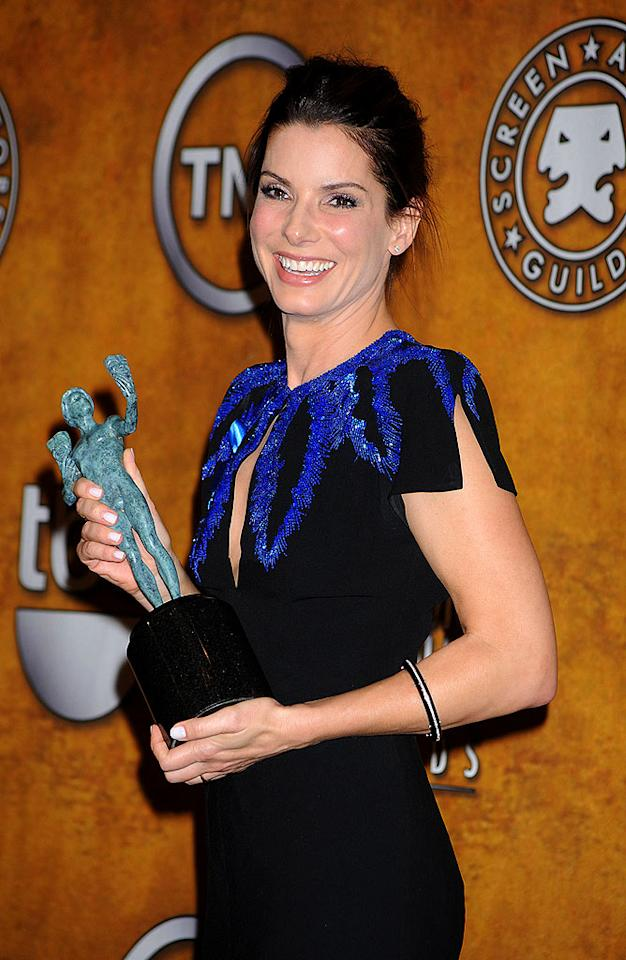 """Sandra Bullock was also a winner on the night, picking up the Best Actress SAG Award for """"The Blind Side."""" With a Golden Globe and a SAG in hand, Bullock is the front runner in the race for Best Actress at the Oscars. Jeffrey Mayer/<a href=""""http://www.wireimage.com"""" target=""""new"""">WireImage.com</a> - January 23, 2010"""