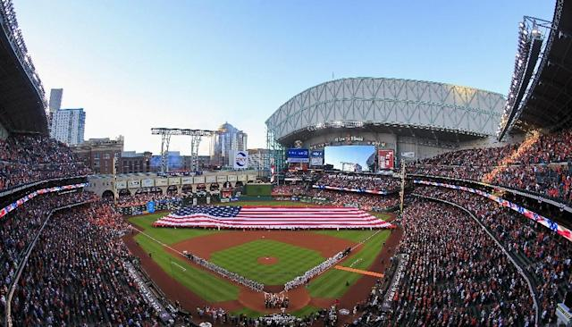 Opening Day at Minute Maid Park, the home stadium of the Houston Astros, on April 3, 2017 (AFP Photo/Bob Levey)