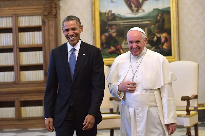 "Pope Francis and President Barack Obama meet at the Vatican Thursday, March 27, 2014. President Barack Obama called himself a ""great admirer"" of Pope Francis as he sat down at the Vatican Thursday with the pontiff he considers a kindred spirit on issues of economic inequality. Their historic first meeting comes as Obama's administration and the church remain deeply split on issues of abortion and contraception. (AP Photo/Gabriel Bouys, Pool)"