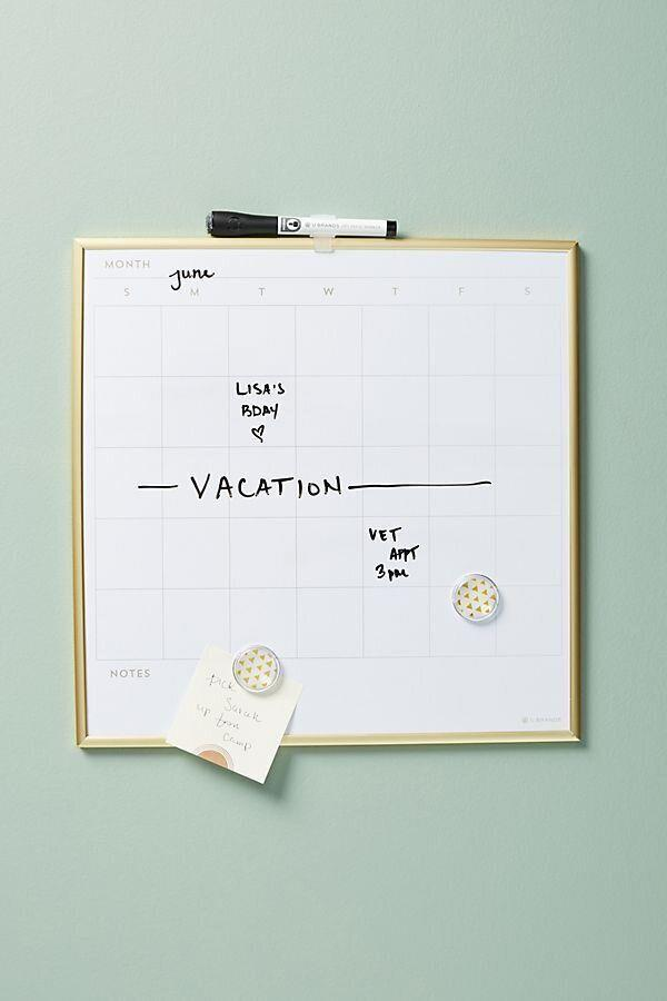 "You might be feeling lost without your desk calendar but this dry-erase option can keep you organized. <a href=""https://fave.co/2UtwODS"" target=""_blank"" rel=""noopener noreferrer"">Find it for $20 at Anthropologie</a>."