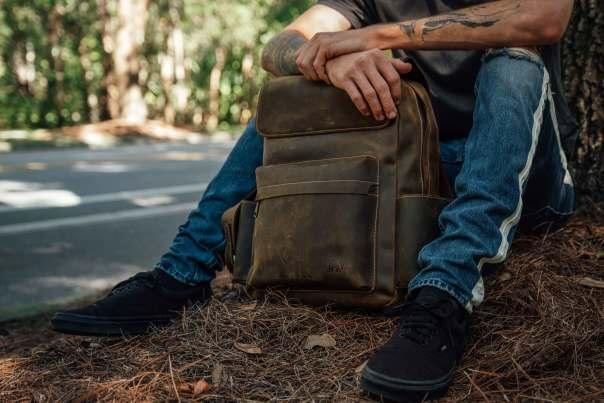 The Bullstrap Leather Rugged Backpack is top notch quality and perfect for dads who want to lug around their stuff in style. Image courtesy of Bullstrap