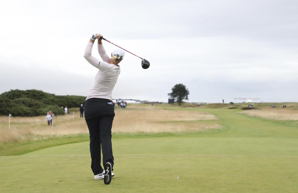 Sweden's Anna Nordqvist plays her tee shot on the 15th during the third round of the Women's British Open golf championship, in Carnoustie, Scotland, Saturday, Aug. 21, 2021. (AP Photo/Scott Heppell)