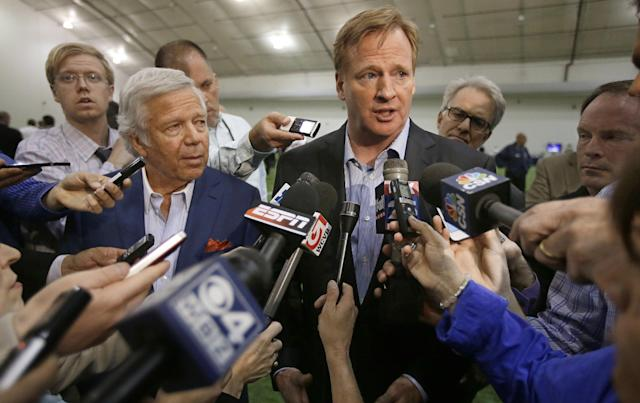 NFL Commissioner Roger Goodell and New England Patriots owner Robert Kraft, left, address members of the media during a football safety clinic for mothers, Thursday, May 29, 2014 at the team's facilities in Foxborough, Mass. (AP Photo/Stephan Savoia)