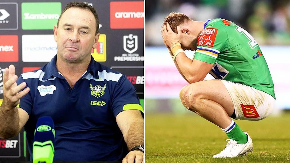 Hudson Young (pictured right) devastated after a loss and coach Ricky Stuart (pictured left) speaking to the media.