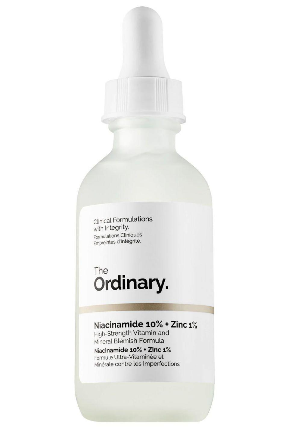 """<p><strong>The Ordinary</strong></p><p>theordinary.deciem.com</p><p><strong>$5.90</strong></p><p><a href=""""https://theordinary.deciem.com/product/rdn-niacinamide-10pct-zinc-1pct-30ml"""" rel=""""nofollow noopener"""" target=""""_blank"""" data-ylk=""""slk:Shop Now"""" class=""""link rapid-noclick-resp"""">Shop Now</a></p><p>The star of the show in this acne serum's formula is <a href=""""https://www.cosmopolitan.com/style-beauty/beauty/g28844492/best-niacinamide-serums/"""" rel=""""nofollow noopener"""" target=""""_blank"""" data-ylk=""""slk:niacinamide"""" class=""""link rapid-noclick-resp"""">niacinamide</a>, an MVP ingredient that will transform your oily skin. It balances oil production, meaning<strong> your T-zone will def be less shiny, </strong>while also reducing acne spots and soothing inflammation. You'll be left with clearer, brighter, and less greasy skin.<br></p>"""