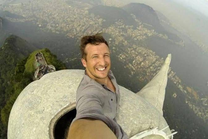 This Christ the Redeemer selfie isn't one for those with a fear of heights (Lee Thompson)