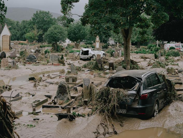 """A flooded cemetery in Ahrweiler, Germany on July 15, 2021.<span class=""""copyright"""">DOCKS Collective</span>"""