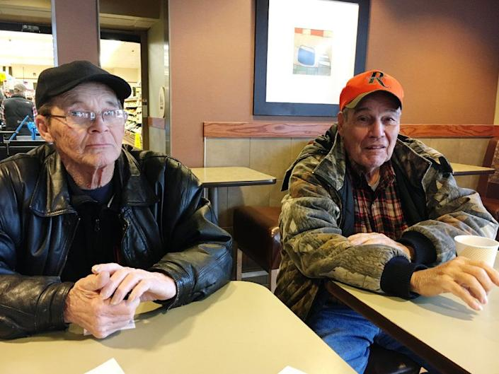 """Robert Lintz (left) wishes he could retire, butthe 74-year-old does not have a pension or a 401k, so he puts up billboards when the weather is warm enough. He lives on a $1,500 Social Security benefit and another $300 to $400 from the billboard work in warmer months. """"I'd just like to be able to afford stuff,"""" he said. <br /><br />Lintz, a lifelong Democrat, voted for Barack Obama but left the top of the ballot blank in 2016. He said he would have rather voted for Mickey Mouse than either Hillary Clinton or Donald Trump. """"I don't think there is a party for working people any more,"""" he said. """"They're all the same. Call it Republicats and it would be right now."""" <br /><br />Hearing Lintz opine at the McDonald's in Burgettstown, Pennsylvania, Don Dowler, 72, walked over. Dowler, a retired union member, voted for Donald Trump in 2016 and is inclined to vote Republican in the special election. But if Dowler heard the Republican candidate is anti-labor, he said, """"That might affect me, yeah. It depends which way he goes."""""""