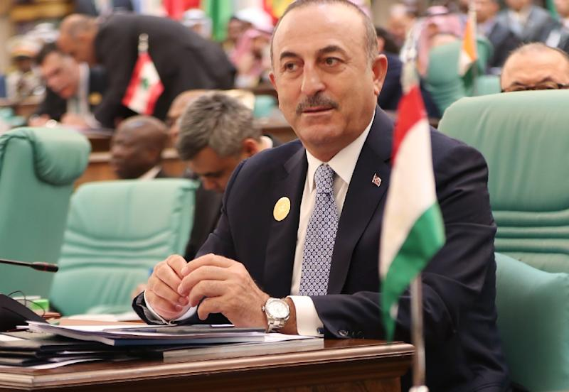 "Turkish Foreign Minister Mevlut Cavusoglu (pictured June 1, 2019) said the Syrian regime's ""guarantors"" are Russia and Iran"