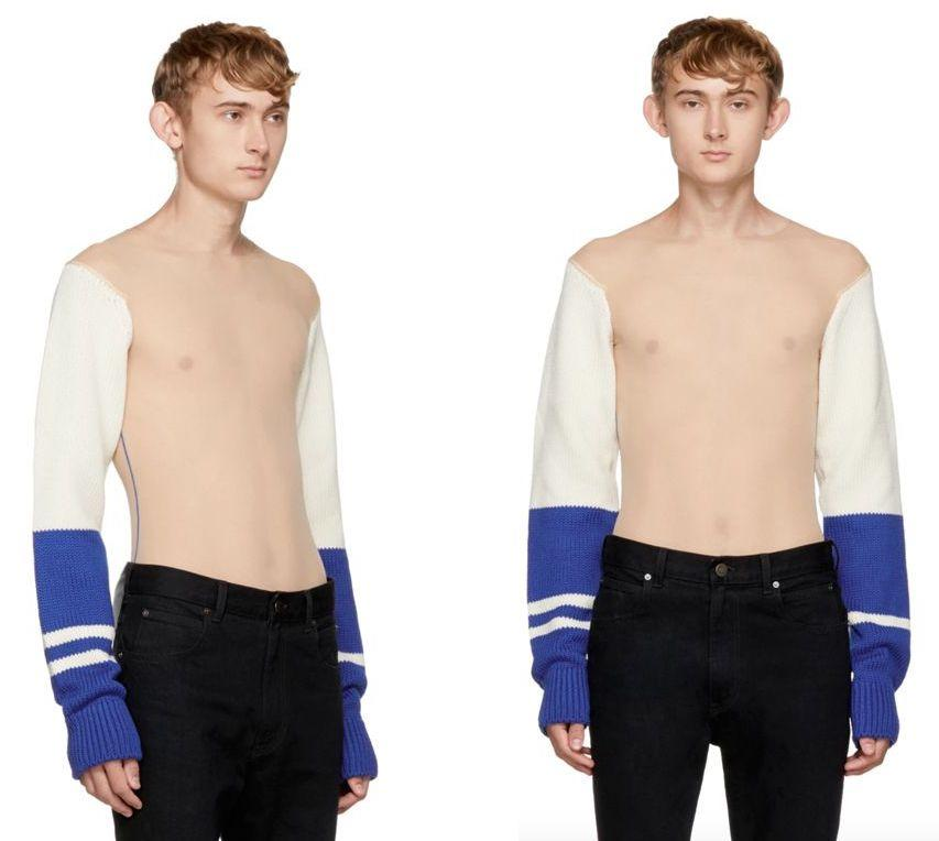 """<p>And it seems designer labels are also responsible for the influx of bizarre fashion trends this year, as Calvin Klein introduced the world to a torso-less <a rel=""""nofollow"""" href=""""https://uk.style.yahoo.com/calvin-klein-frees-nipple-torso-less-jumper-145607031.html"""">jumper</a>.<br /><br />The American label, under the leadership of Raf Simons, debuted a sheer torso look which retails at £1,550. <em>[Photo: SSENSE]</em> </p>"""
