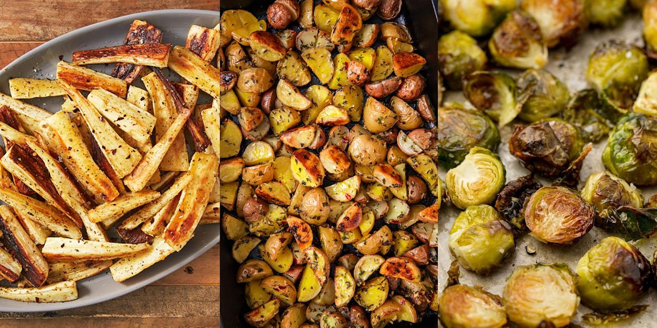 """<p>There's no denying how important Christmas side dishes are. You know, <a href=""""https://www.delish.com/uk/cooking/recipes/a28934289/honey-glazed-carrots-recipe/"""" target=""""_blank"""">Honey-Glazed Carrots</a>, <a href=""""https://www.delish.com/uk/cooking/recipes/a28786247/herb-roasted-potatoes/"""" target=""""_blank"""">Herb Roasted Potatoes</a> and <a href=""""https://www.delish.com/uk/cooking/recipes/a29696283/cheesy-cauliflower-bake-recipe/"""" target=""""_blank"""">Cheesy Cauliflower Bake</a>. These are the type of recipes that are simple to make, yet insanely delicious to eat. And for that reason, we require at least five different sides at <a href=""""https://www.delish.com/uk/cooking/recipes/g29696768/christmas-dinner-ideas/"""" target=""""_blank"""">Christmas</a> (soz, not soz). Besides, Christmas is all about over-indulging, right? </p>"""