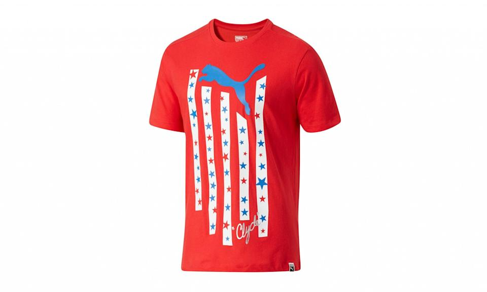 """<p>Puma, one of the biggest athletic brands in the United States, collaborates with American celebrities like Kylie Jenner. But it extends its production outside of the United States to areas like Vietnam in Southeast Asia. (Photo: <a href=""""http://us.puma.com/en_US/pd/stars-and-stripes-cat-t-shirt/pna576137.html?dwvar_pna576137_color=02#start=4"""" rel=""""nofollow noopener"""" target=""""_blank"""" data-ylk=""""slk:Puma"""" class=""""link rapid-noclick-resp"""">Puma</a>) </p>"""