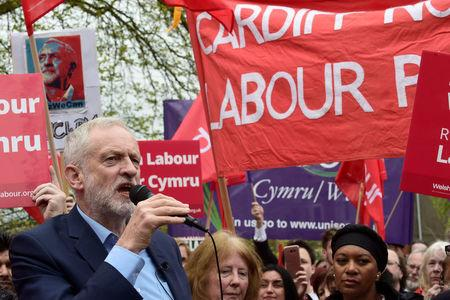 Jeremy Corbyn the leader of Britain's opposition Labour party speaks to a crowd of supporters on the common at Whitchurch, Cardiff, Wales, April 21, 2017. REUTERS/Rebecca Naden
