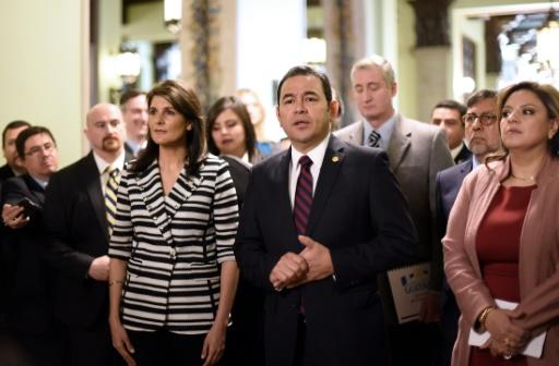 Guatemala, whose President Jimmy Morales is seen here alongside Washington's UN ambassador Nikki Haley in February 2018, is one of two countries that have mirrored the US embassy move from Tel Aviv to Jerusalem