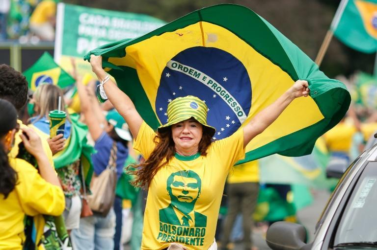 A demonstrator holds a Brazilian flag during a protest in Brasilia in support of President Jair Bolsonaro, on May 1, 2021