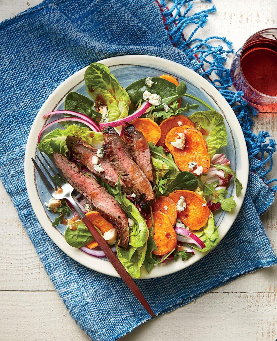 """<p><strong>Recipe: <a href=""""https://www.southernliving.com/recipes/steak-sweet-potato-and-blue-cheese-salad-recipe"""" rel=""""nofollow noopener"""" target=""""_blank"""" data-ylk=""""slk:Steak, Sweet Potato, and Blue Cheese Salad"""" class=""""link rapid-noclick-resp"""">Steak, Sweet Potato, and Blue Cheese Salad</a></strong></p> <p>Juicy steak takes this salad from side dish to most-requested main course.</p>"""